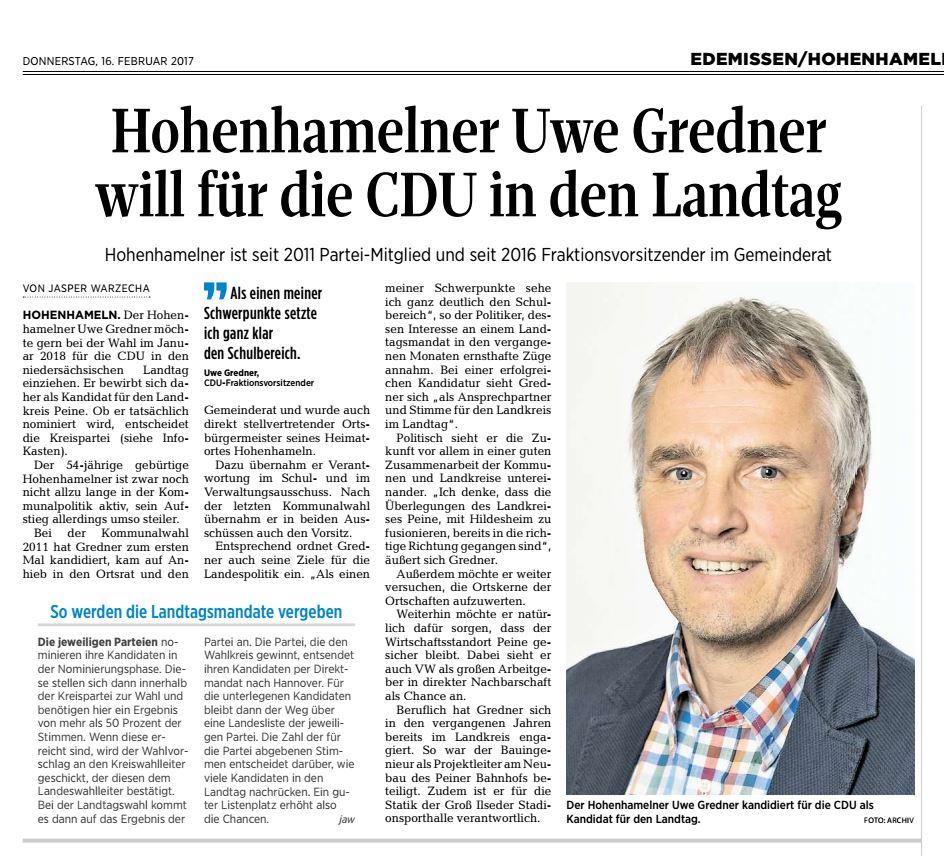 Uwe Gredner für die CDU in den Landtag